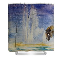 Yellowstone Memories Shower Curtain by Geeta biswas