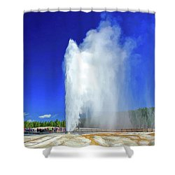 Shower Curtain featuring the painting Yellowstone National Park Beehive Geyser by Christopher Arndt