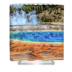 Shower Curtain featuring the painting Yellowstone National Park Grand Prismatic Spring by Christopher Arndt