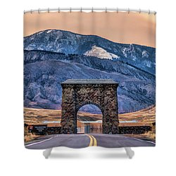 Shower Curtain featuring the painting Yellowstone National Park North Entrance by Christopher Arndt
