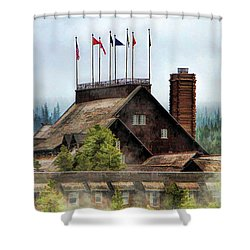 Shower Curtain featuring the painting Yellowstone National Park Old Faithful Inn by Christopher Arndt