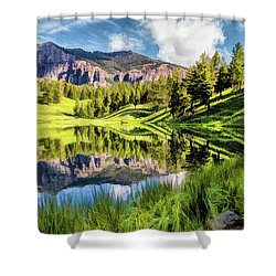 Shower Curtain featuring the painting Yellowstone National Park Trout Lake by Christopher Arndt