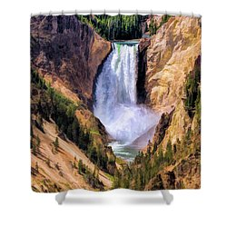 Shower Curtain featuring the painting Yellowstone National Park Upper Falls by Christopher Arndt