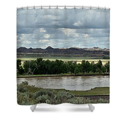 Yellowstone River After The Storm Shower Curtain by Aliceann Carlton