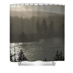 Yellowstone River Fog Shower Curtain by Sandra Bronstein