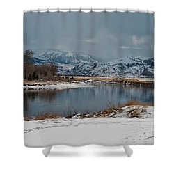 Yellowstone River In Light Snow Shower Curtain