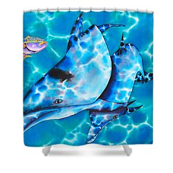 Yellowtail Snapper And  Dolphins Shower Curtain by Daniel Jean-Baptiste