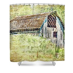 Shower Curtain featuring the photograph Yesteryear Barn by Jean OKeeffe Macro Abundance Art