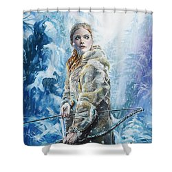 Shower Curtain featuring the painting Ygritte The Wilding by Baroquen Krafts