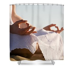 Yoga Shower Curtain by Kati Molin
