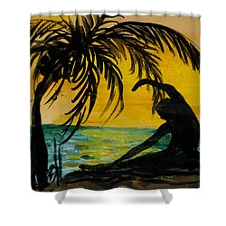 Yoga Seated Side Bend Shower Curtain by Donna Walsh