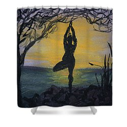 Yoga Tree Pose Shower Curtain by Donna Walsh