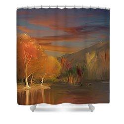 Yorba Linda Lake By Anaheim Hills Shower Curtain by Angela A Stanton