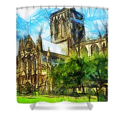 Shower Curtain featuring the painting York Minster by Sir Josef - Social Critic - ART