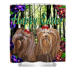 Shower Curtain featuring the digital art Yorkie Easter by Michelle Audas
