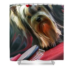 Yorkie Shower Curtain by Graham Hawcroft pixsellpix