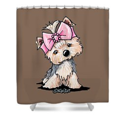 Yorkie In Bow Shower Curtain