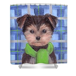 Yorkie Poo With Scarf Shower Curtain