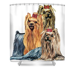 Yorkshire Terriers Shower Curtain by Kathleen Sepulveda