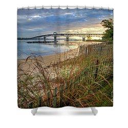 Yorktown Beach Sunrise Virginia Shower Curtain