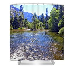Yosemite River At Ease Shower Curtain