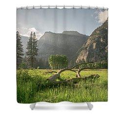 Sundown On The Valley Shower Curtain by Ryan Weddle