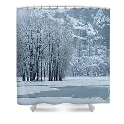 Shower Curtain featuring the photograph Yosemite - A Winter Wonderland by Sandra Bronstein