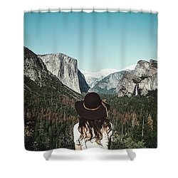 Yosemite Awe Shower Curtain by Marji Lang