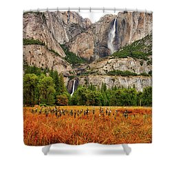 Yosemite Falls Autumn Colors Shower Curtain