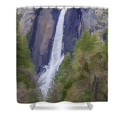Yosemite Falls Digital Watercolor Shower Curtain