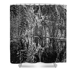 Shower Curtain featuring the photograph Yosemite Falls From The Swinging Bridge In Black And White by Bill Gallagher