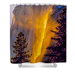 Yosemite Firefall Painting Shower Curtain by Dr Bob Johnston