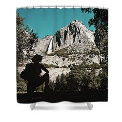 Yosemite Hiker Shower Curtain by Marji Lang