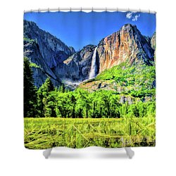 Shower Curtain featuring the painting Yosemite National Park Bridalveil Fall by Christopher Arndt