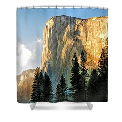 Shower Curtain featuring the painting Yosemite National Park El Capitan by Christopher Arndt