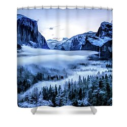 Shower Curtain featuring the painting Yosemite National Park Tunnel View Snowy Morning by Christopher Arndt