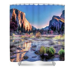 Shower Curtain featuring the painting Yosemite National Park Valley by Christopher Arndt