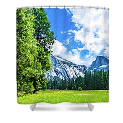 Yosemite Valley And Half Dome Digital Painting Shower Curtain