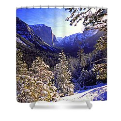 Yosemite Valley In Winter, California Shower Curtain