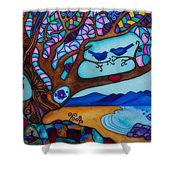 Shower Curtain featuring the painting Love Is All Around Us by Lori Miller