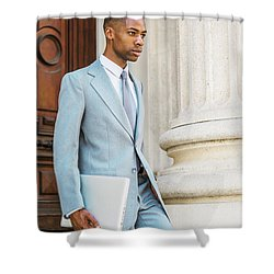 Young African American Businessman Working In New York Shower Curtain