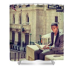 Young African American Man Working On Wall Street In New York Shower Curtain