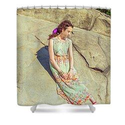 Young American Woman Summer Fashion In New York Shower Curtain