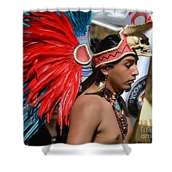 Shower Curtain featuring the photograph Young Aztec Portrait by Lew Davis