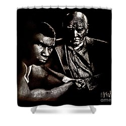 Young Boxer And Soon To Be World Champion Mike Tyson And Trainer Cus Damato Shower Curtain
