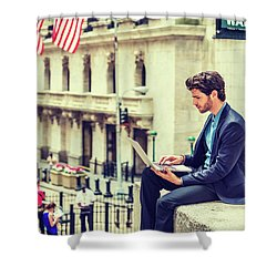 Young Businessman Working On Wall Street In New York Shower Curtain