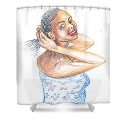 Young Cameroun Woman Tying Her Hair Shower Curtain by Emmanuel Baliyanga