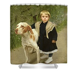 Young Child And A Big Dog Shower Curtain by Luigi Toro