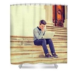 Young College Student Studying In New York 15042516 Shower Curtain
