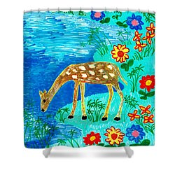 Young Deer Drinking Shower Curtain by Sushila Burgess